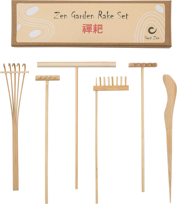 Mini Rastrillos Zen Garden en Bambú Puro, Kit de Juego de Terapia con Accesorios CE Caja De Arena para la Serenidad, la Meditación y la Paz Espiritual