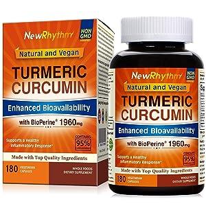 Organic Turmeric Curcumin with BioPerine and 95% Curcuminoids, 1960mg, 180 Veggie Capsules