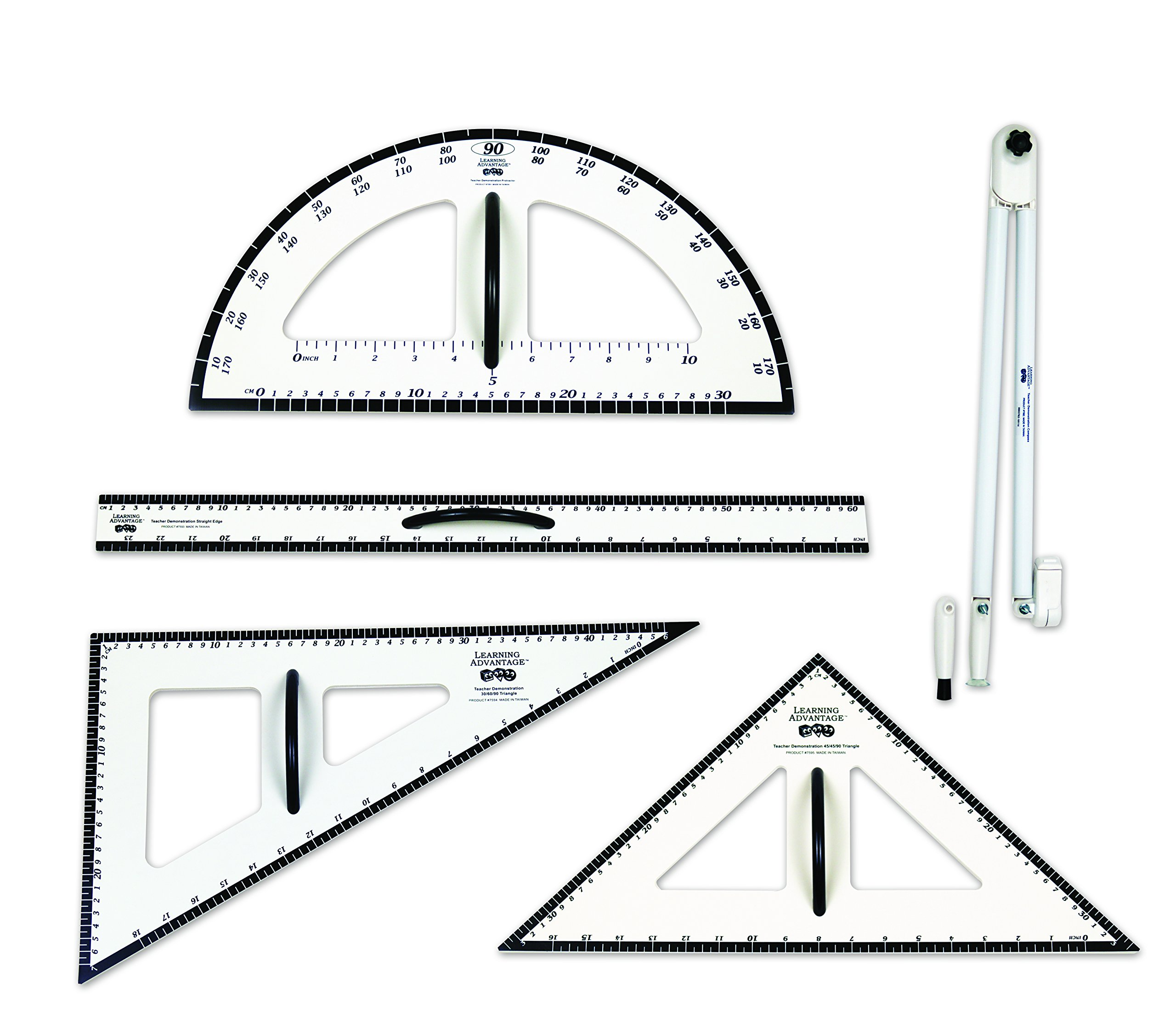 Learning Advantage Dry Erase Magnetic Measurement Set Whiteboard Compass, Protractor, Ruler and Triangles by Learning Advantage