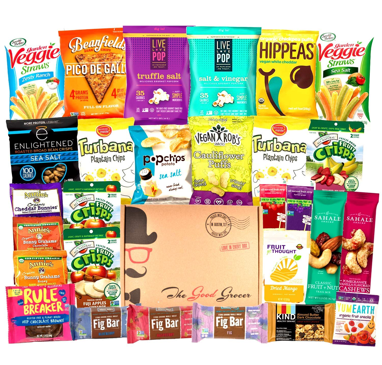 NON-GMO HEALTHY SNACKS Care Package (28 Ct): Snack Bars, Vegan Puffs, Popcorn, Fruit Snacks, Freeze Dried Fruit, Gift Box Variety Pack, College Student Military Care Package, Office Client Gift Basket by The Good Grocer
