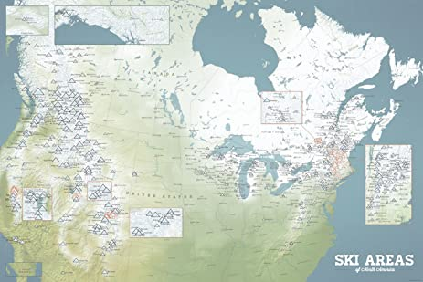 Amazoncom North America Ski Resorts Map X Poster Natural - Natural world map