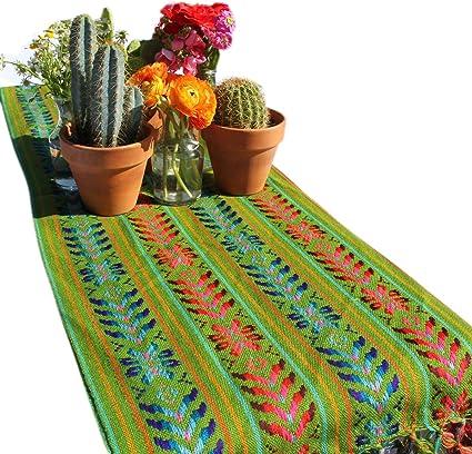 Del Mex Woven Rebozo Style Mexican Table Runner Scarf (Avocado)