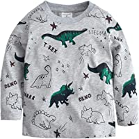Tkria Little Kids Boys Dinosaur Sweatshirt T-Shirt Long Sleeve Tops Casual Cotton Tee Shirts