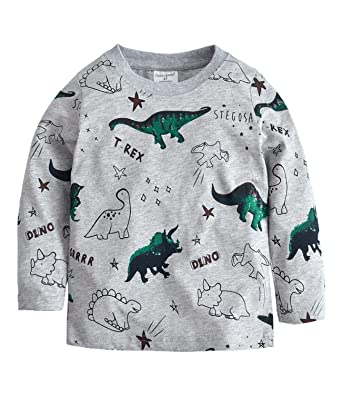 Sweat-shirts Garçon Vêtements de sport à Manches Longues Dinosaures  imprimer T-shirt pour 9b3a88bf6a1