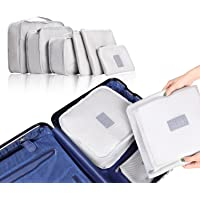 Luggage Clothes Bags, 6 PCS Luggage Packing Organizers For Travel Packing Mesh Storage Bags With Laundry Bag and Shoes Bag, Grey