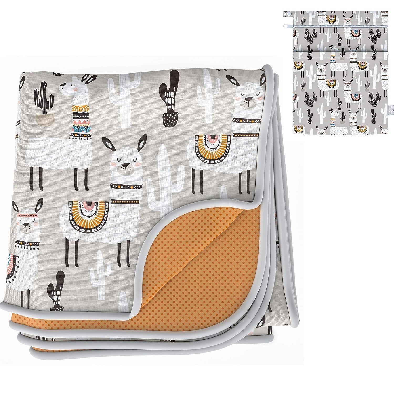 "BABYBOET Splat Mat for Baby – Under High Chair Floor Mat Protects Wood, Vinyl and Carpet from Spills – Waterproof Triple Layer Baby Mat Bundle with Waterproof Matching Wet Bag (51"" x 51"")-Grey Alpaca"