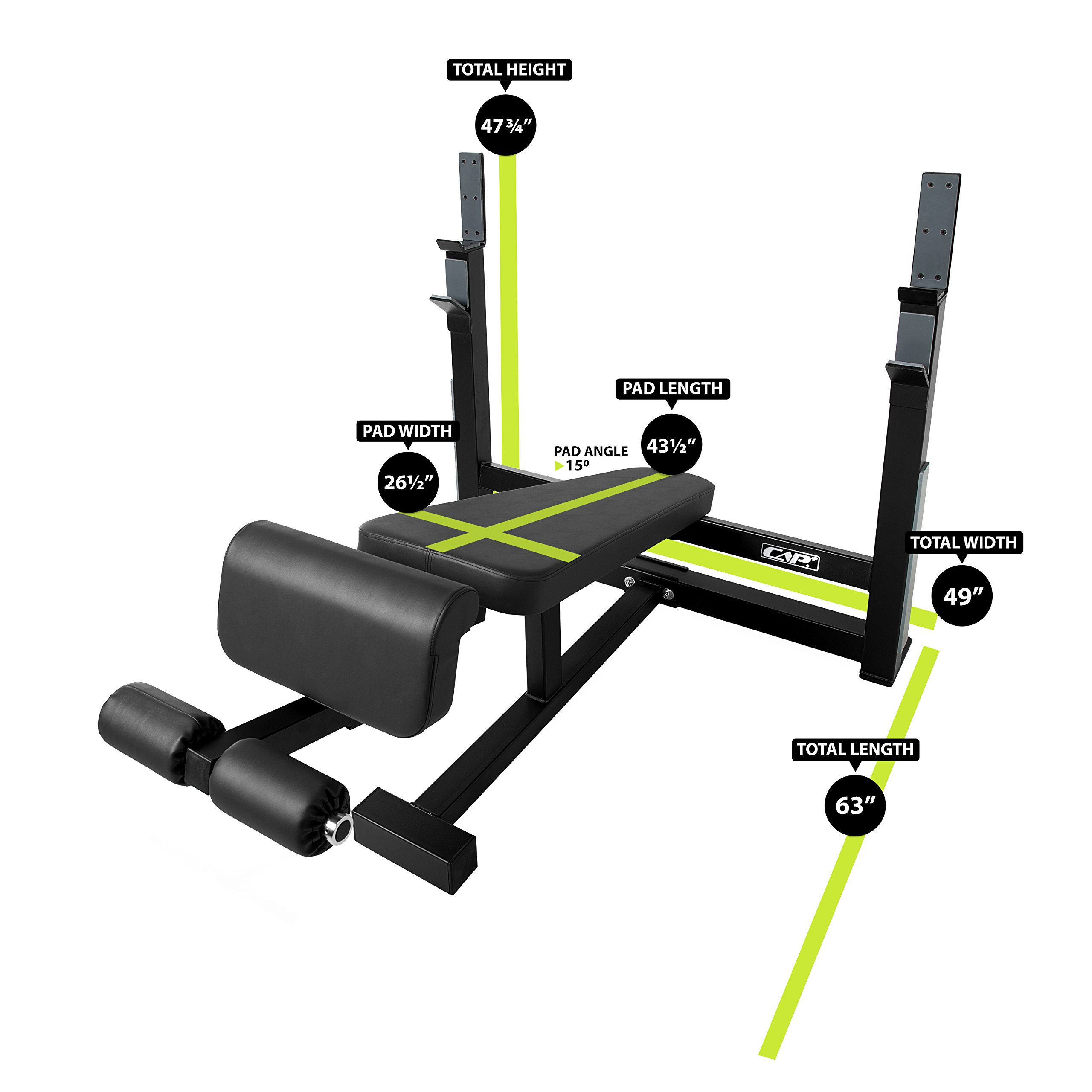 CAP Barbell 300-Pound Black Olympic Grip Set with Olympic Decline Bench by CAP Barbell (Image #2)