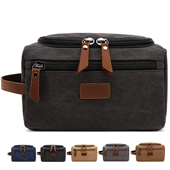 cd95ef5a3e28 Men s Toiletry Bag Canvas Shaving Dopp Kit Travel Bags Organizer (Black)