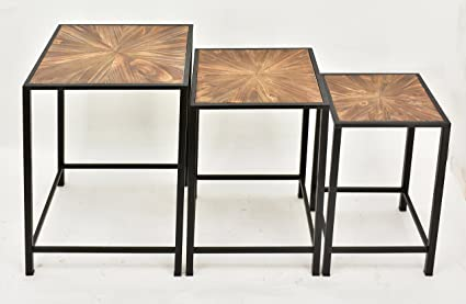 Merveilleux Paris Loft Real Wood Nesting Coffee Table Set Of 3, Stacking Industrial  Side End Table