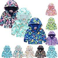 Toddler Kids Baby Grils Boys Autumn Hooded Jacket Dinosaur Print Cute Cartoon Long Sleeve Windproof Coat with Pockets