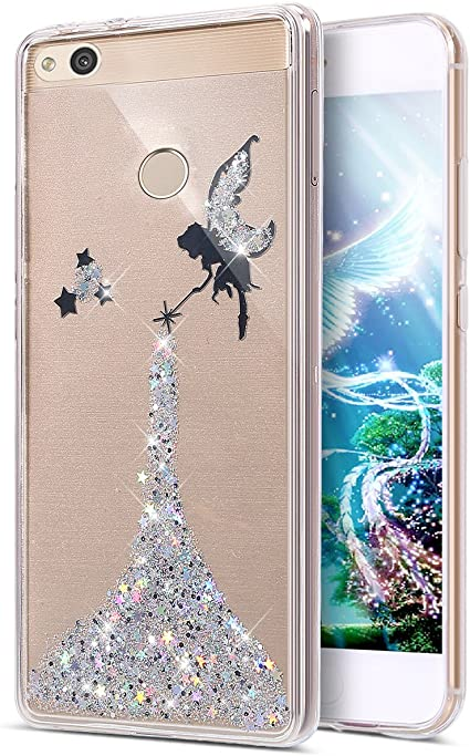 Cover Huawei P8 Lite 2017 Custodia,ikasus Bling scintillio della scintilla Stelle della ragazza Angelo Trasparente Silicone Gel Case Cover Crystal ...