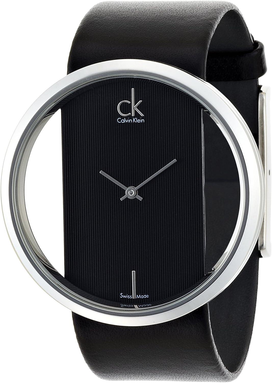 Calvin Klein Glam K9423107 - Reloj de Mujer de Cuarzo, Correa de Piel Color Negro