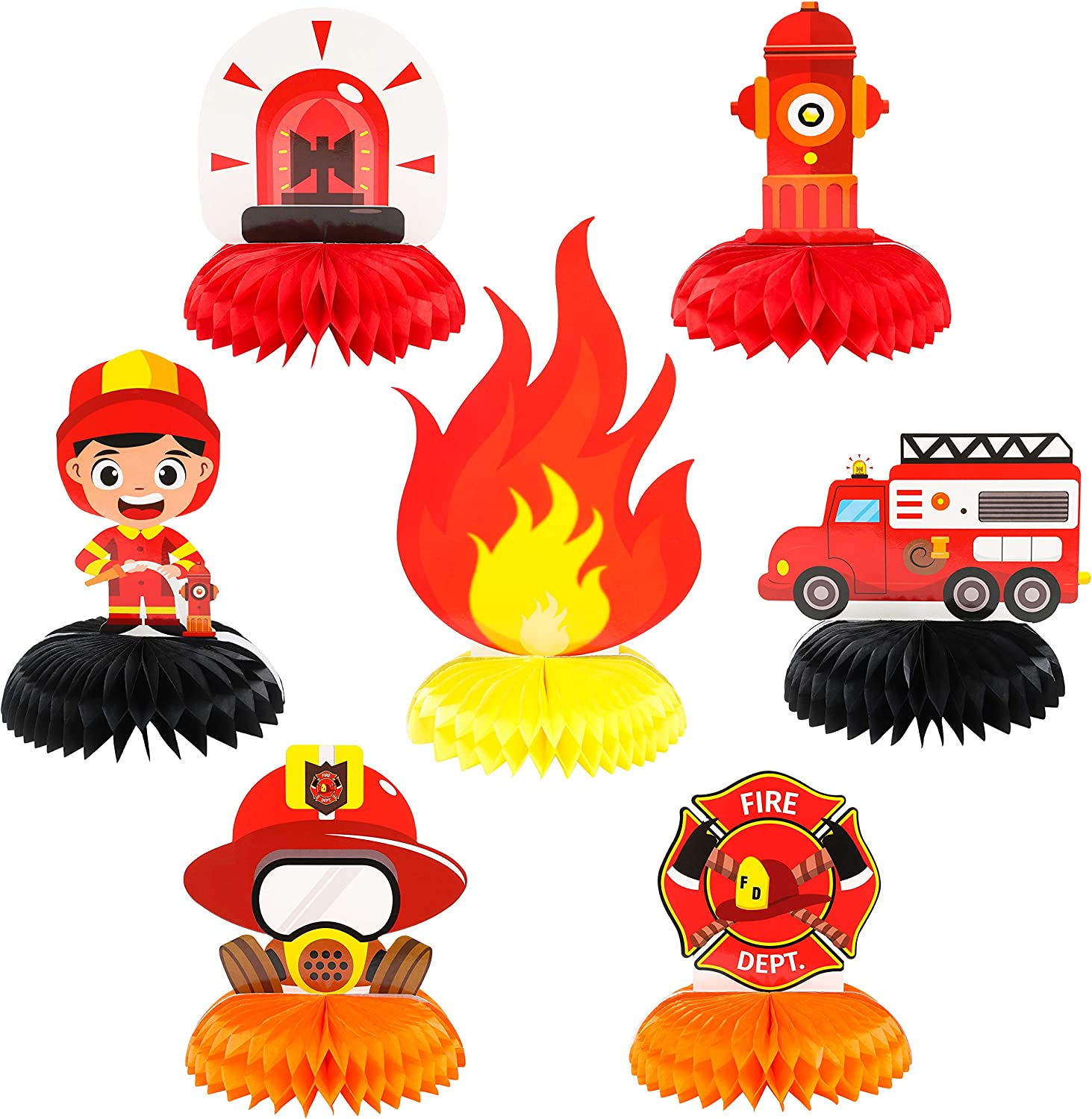 MALLMALL6 7Pcs Firefighter Honeycomb Centerpieces Fireman Themed Table Decorations Birthday Party Supplies Firetruck Fire Hat Extinguisher Themed Party Favors Room Decor Photo Booth Props for Kids