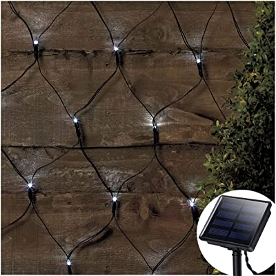 Solar Led Net Lights, 9.8ft x 6.6ft 200 LEDs Net Mesh Tree-wrap Lights, Dark Green Cable, 8 Modes Outdoor String Decorative Lights for Window Wall Sweetheart Table Background Camping Beach - White : Garden & Outdoor