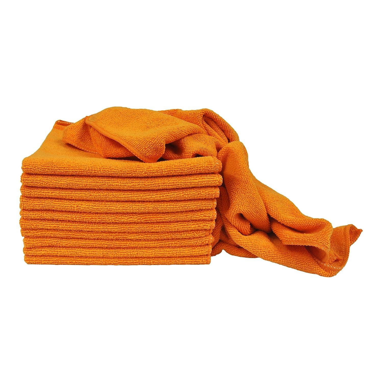 Eurowユーティリティテリー織り16 x 16 in 240 gsmマイクロファイバークリーニングタオル12パック 16 in X 16 in オレンジ MT-T16-UORG-12 B077DZXHBG  オレンジ