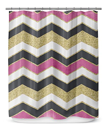 KAVKA DESIGNS Chevron White Pink Black Gold Shower Curtain