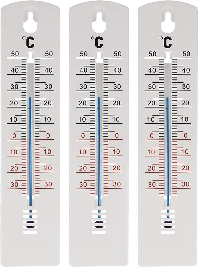 Lantelme Außenthermometer Innenthermometer 20 Cm Kunststoff Weiß Schwarz Analog 35 Bis 50 C Gartenthermometer 3er Set Weiß Garten