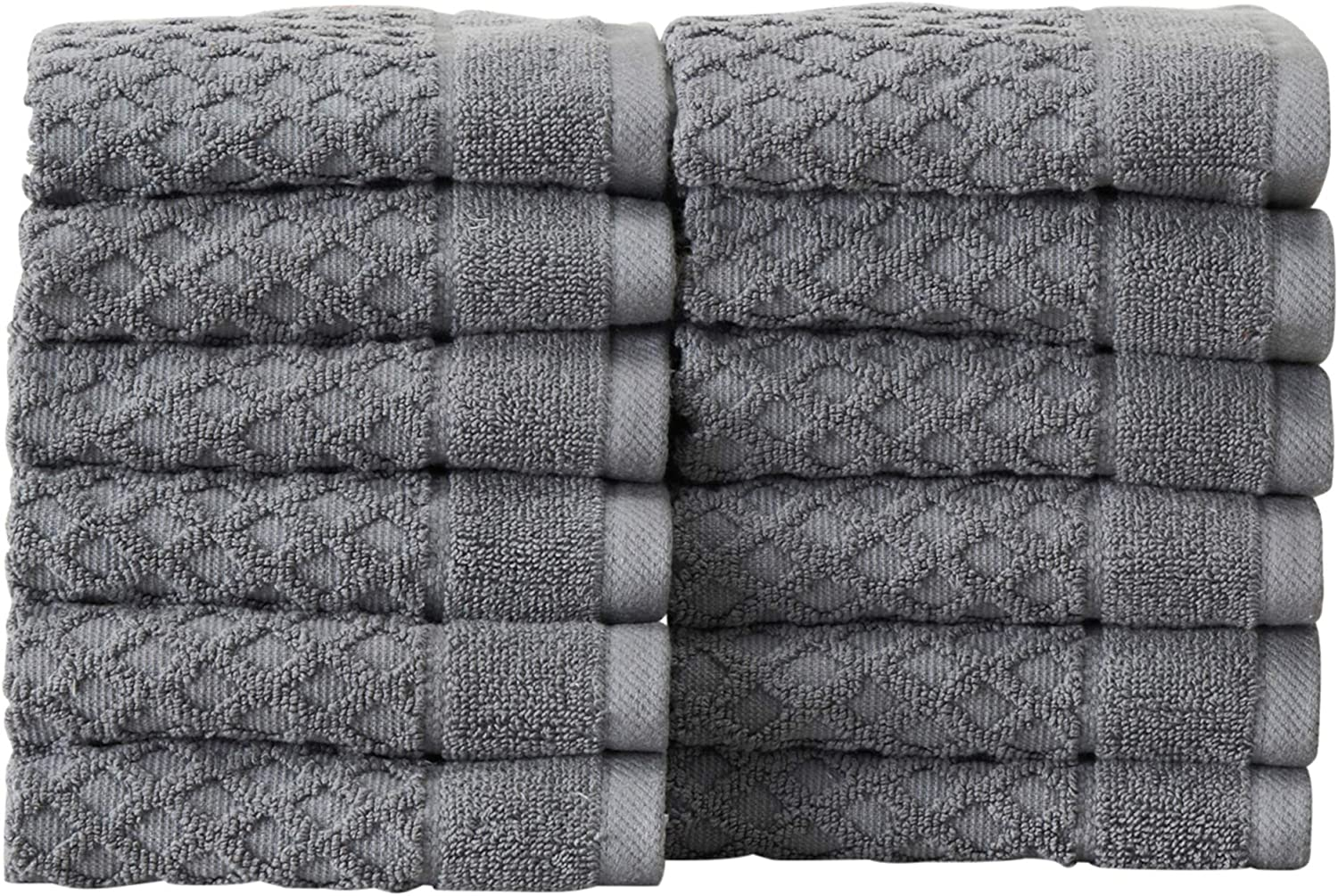 12-Pack Washcloth Set. 100% Cotton Absorbent Quick-Dry Textured Washcloth Towels. Wash Cloths for Bathrooms. Grayson Collection. (Wash 12pk, Dark Grey)