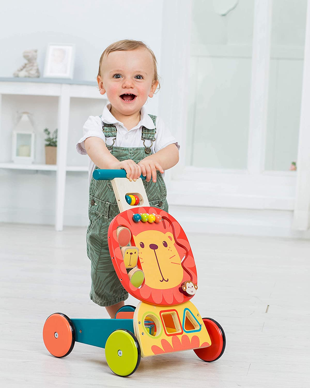 Labebe Andador de Madera, Uso 2 en 1 como Carrito, White Fuchs Andador para 1-3 Años, Sin Caminar Paseador/Andador de Bebé Madera/Andador Andador de ...