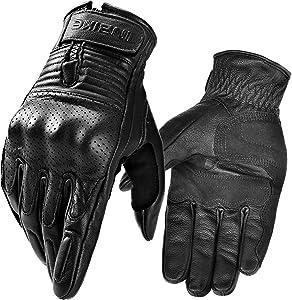 INBIKE Motorcycle Genuine Leather Gloves Men's Protective Motorbike Gloves Black X-Large
