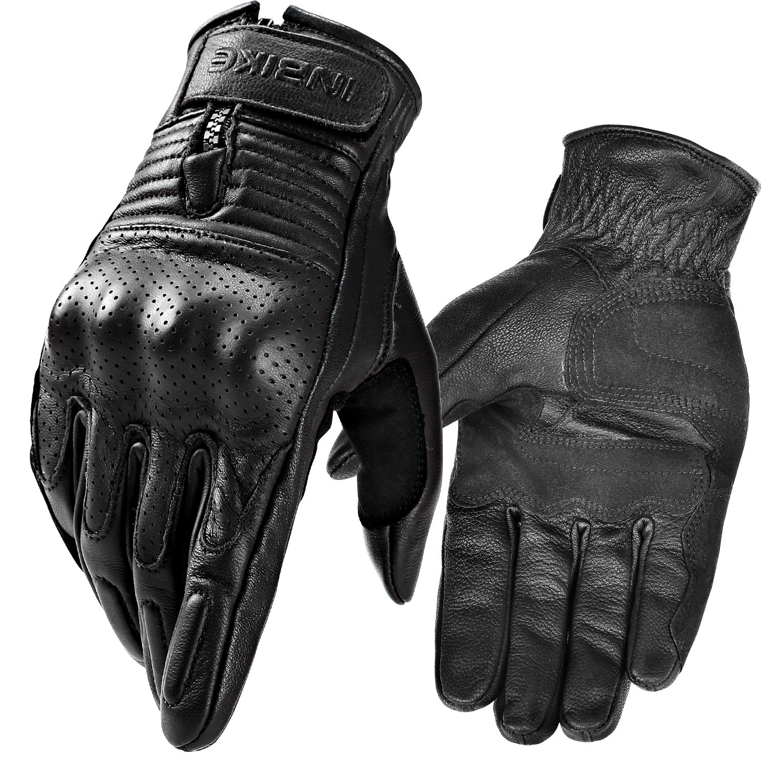 INBIKE Motorcycle Genuine Leather Gloves Mens Protective Motorbike Gloves Brown Medium