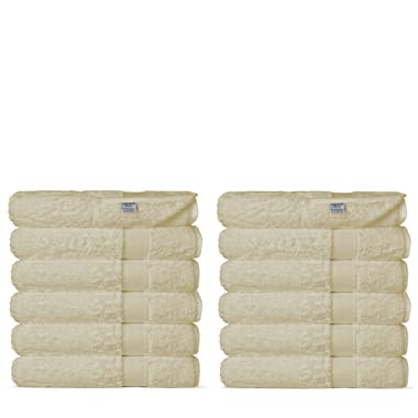 Chakir Turkish Linens Luxury Ultra Soft Bamboo 12-Piece Washcloths - Soft, Absorbent and Eco-Friendly (Beige)