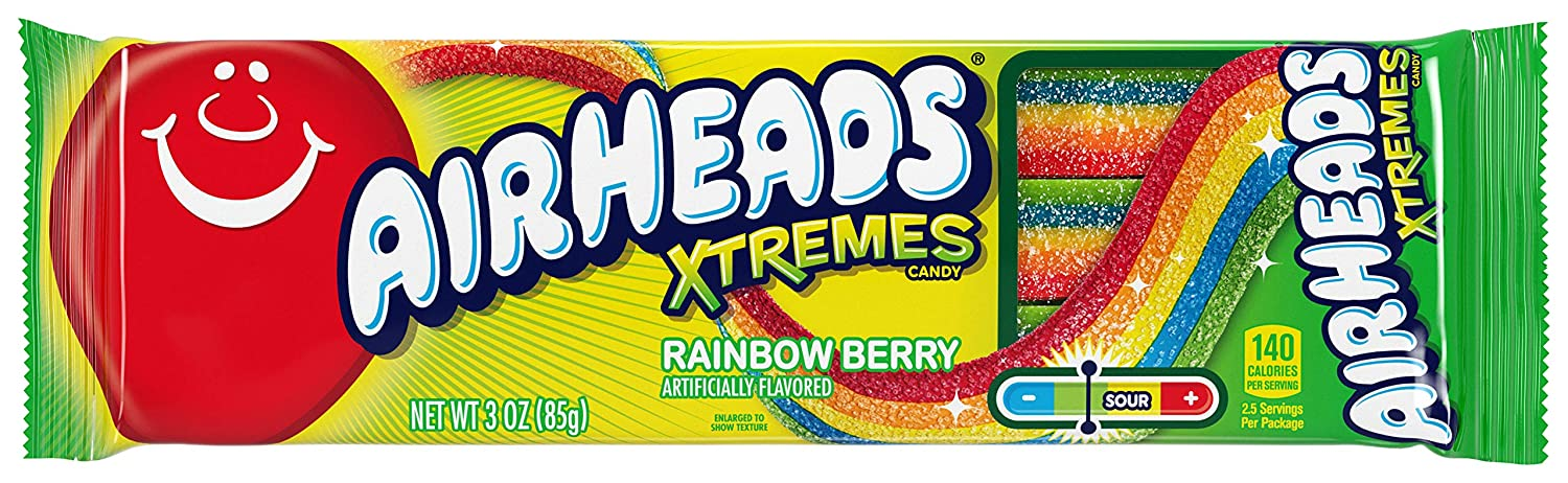 AirHeads Xtremes Sweetly Sour Candy Belts, Bulk Gifts Box, Rainbow Berry, Party, Non Melting, 3 Ounce (Bulk Pack of 12) 81ZswNZCWAL