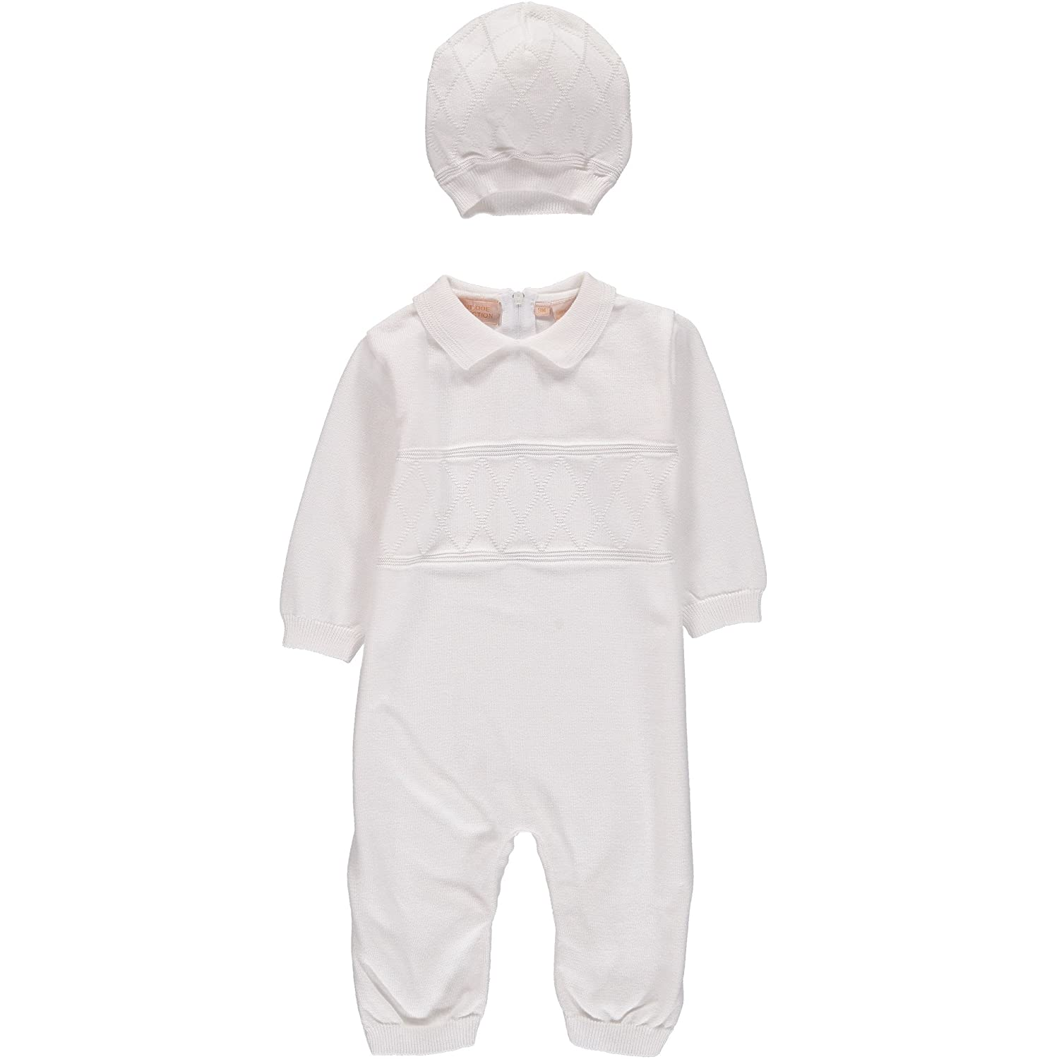 Boutique Collection Baby Boys' Christening Coverall with Diamond Stitching - Includes Hat
