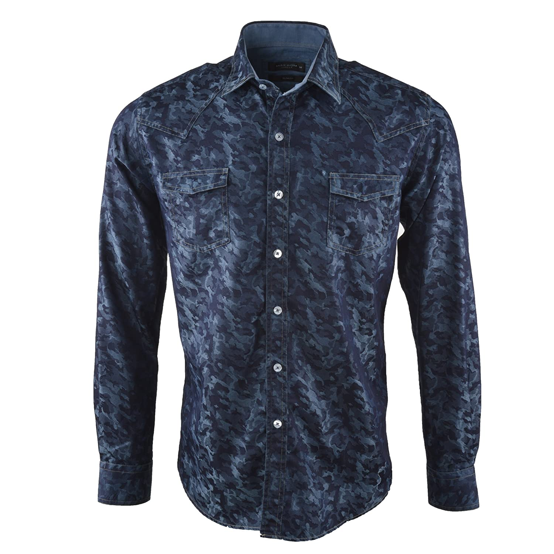 Oscar Banks Bleu Denim Impression Look Mens Shirt