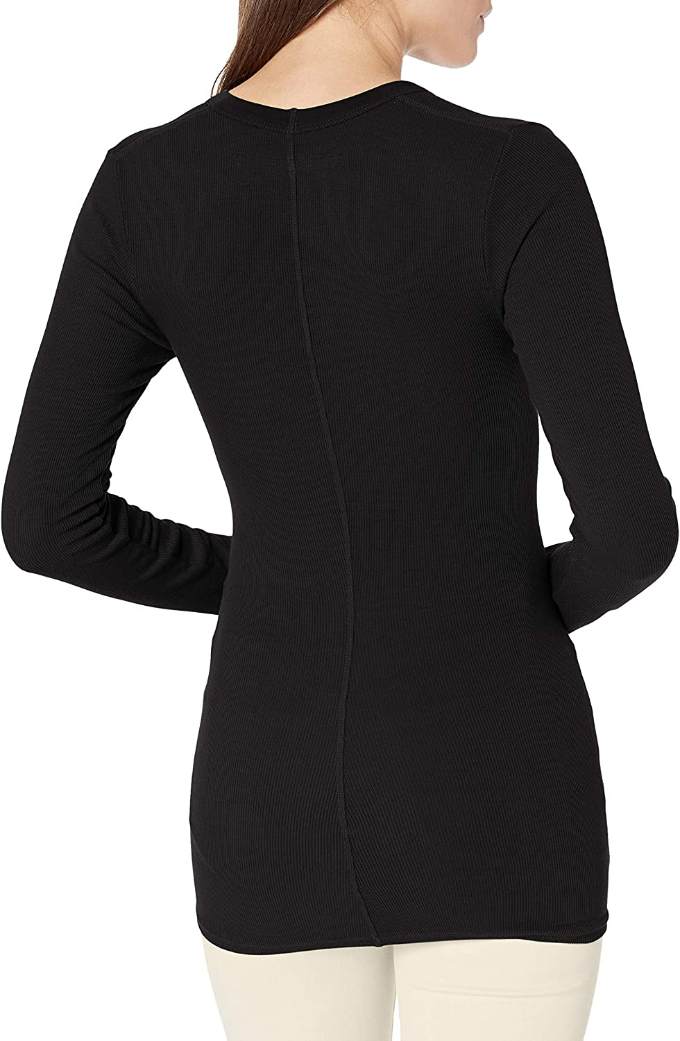 Enza Costa Women's Rib Fitted Long Sleeve U-Neck Top T-Shirt Black