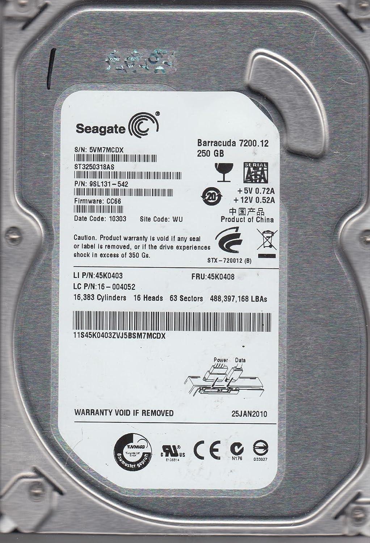 Seagate 250GB SATA 3.5 Hard Drive ST3250318AS 5VM FW CC66 PN 9SL131-542 WU