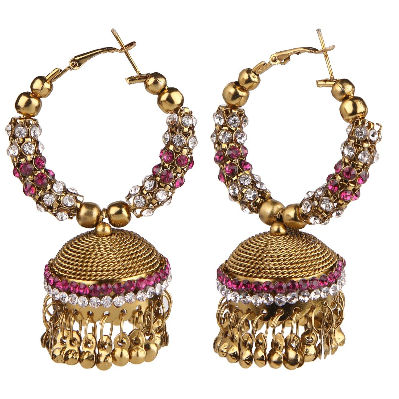 Efulgenz Indian Bollywood Bridal Designer Jewelry Oxidized Gold Plated Traditional Jhumka Jhumki Earrings for Women and Girls Jaipur Art Jewellery MER56