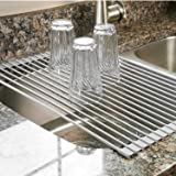 """Over The Sink Dish Drying Rack - Kitchen Roll Up Dish Drainer Multipurpose Heat Resistant with Anti Slip Silicone Cover - Large 20 1/2(L) x 13""""(W) (Gray)"""