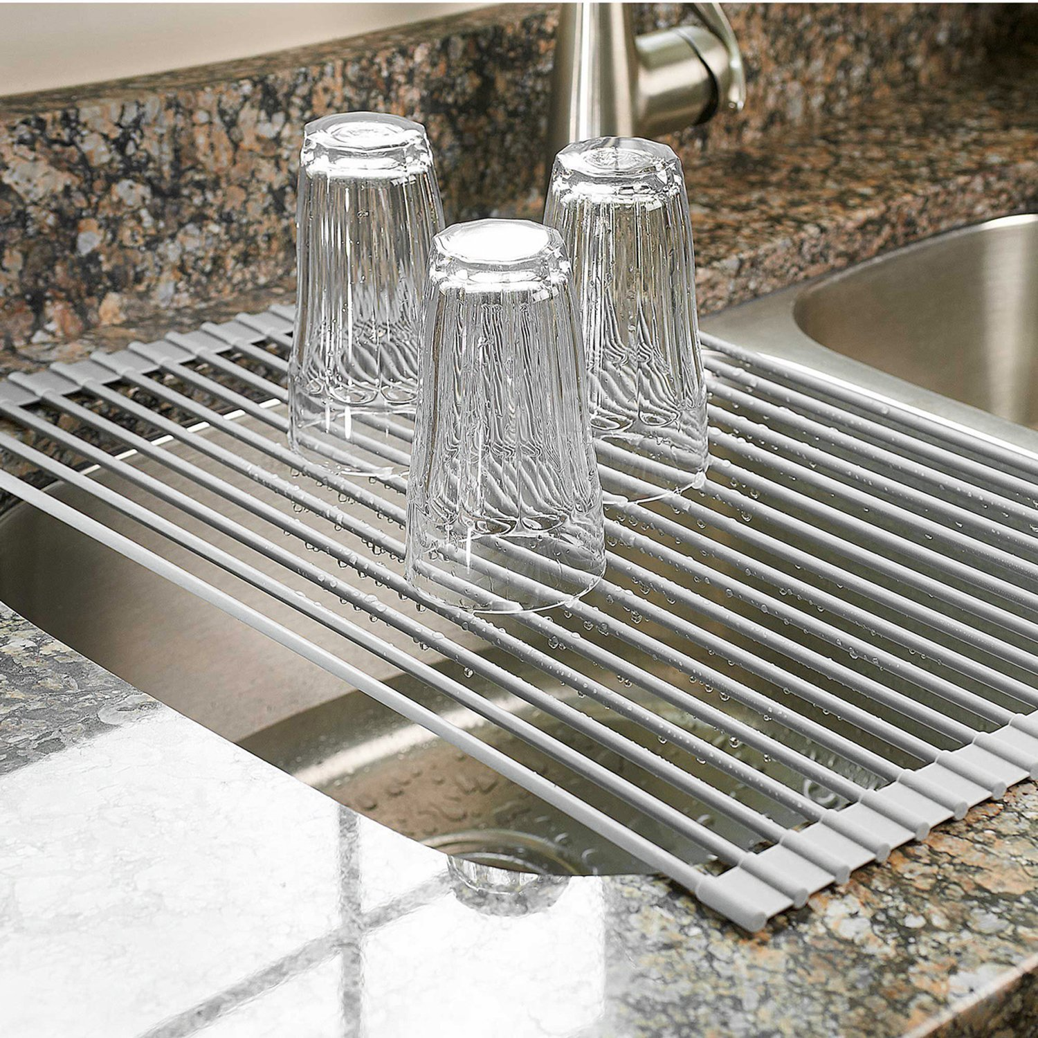 Over The Sink Dish Drying Rack - Kitchen Roll Up Dish Drainer Multipurpose Heat Resistant with Anti Slip Silicone Cover - Large 20 1/2''(L) x 13''(W) (Gray)
