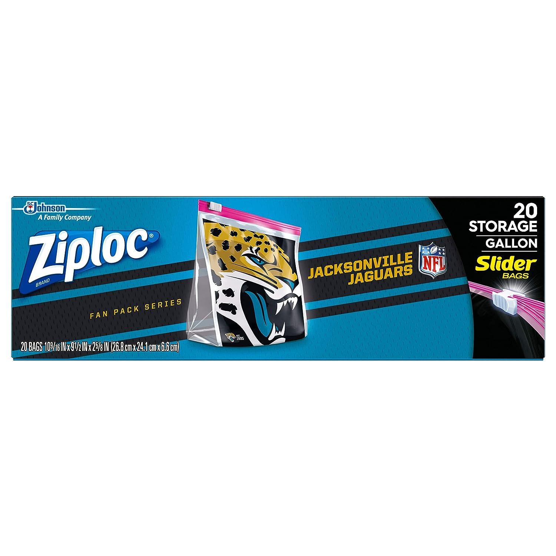 Ziploc Brand NFL Jacksonville Jaguars Slider Gallon, 20 ct