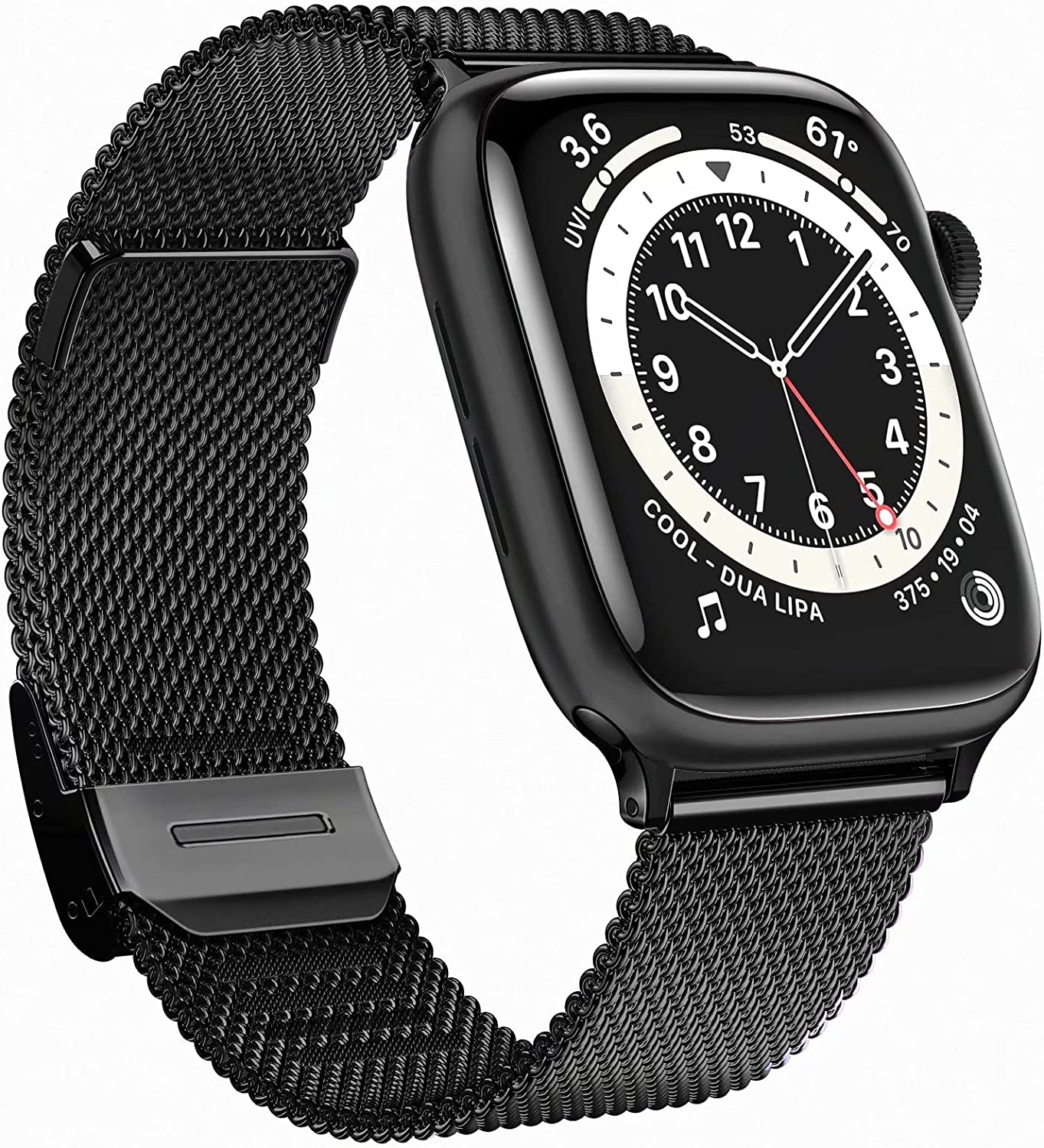GBPOOT Bands Compatible with Apple Watch Bands 38mm 40mm 42mm 44mm,Clasp Stainless Steel Milanese Bands for iwatch Series 6/5/4/3/2/1/SE Men Women(Black,38/40mm)