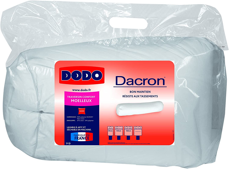 Dodo 10039890 MARS DACRON Traversin Polyester Coton Blanc 90 cm