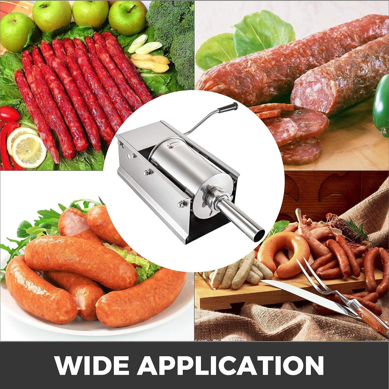 BuoQua Embutidora de Chorizos Horizontal de Acero Inoxidable 5L Llenadora Manual de Salchichas para Hacer Salchichas Chorizo Hot Dogs Bratwurst Adecuado Tanto para Uso Dom/éstico como Comercial