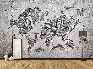 Duvarkapla Siyah Ve Beyaz Tek Renkli Dünya Haritaları 3 Boyutlu
