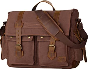 Wowbox 17.3 Inch Men's Messenger Bag Vintage Canvas Leather Satchel Laptop Bags Bookbag Working Bag for Men and Women Coffee