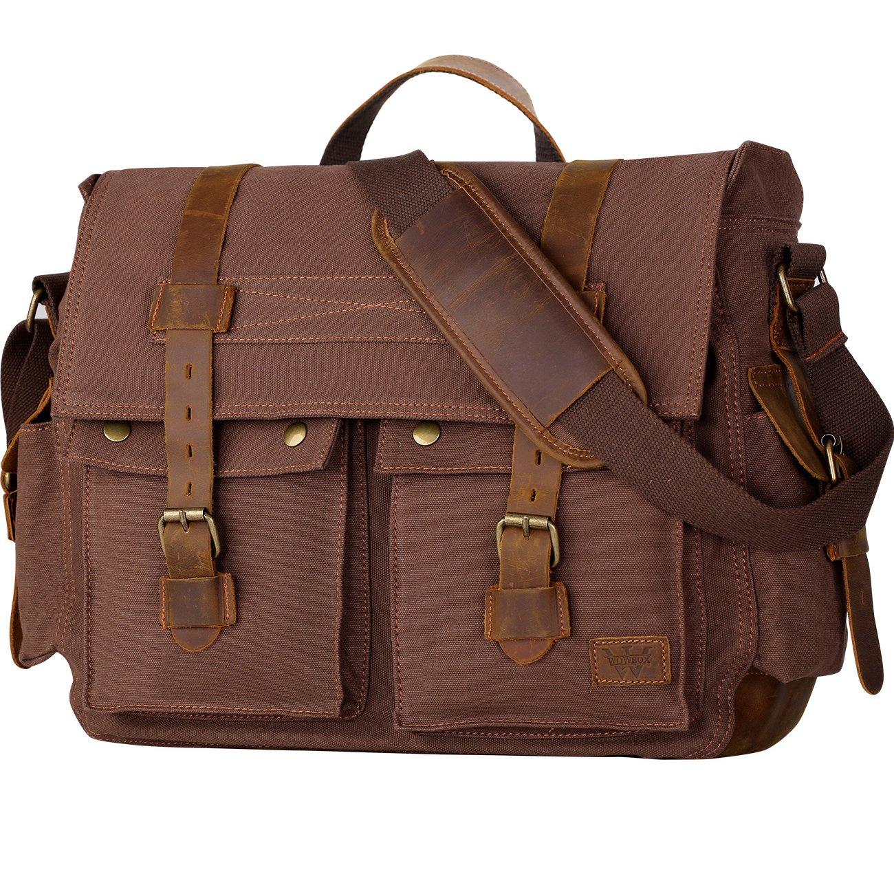 6a03a630d Amazon.com: Wowbox 17.3 Inch Men's Messenger Bag Vintage Canvas Leather  Satchel Laptop Bags Bookbag Working Bag for Men and Women Coffee: Computers  & ...