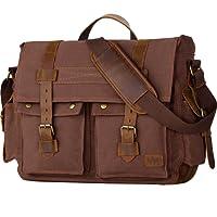 """wowbox Messenger Satchel Bag para hombres y mujeres clásico lona 14-Inch–Maletín para portátiles de piel auténtica 33cm (L) x10.5""""(H) X 10,4cm (W) ¡, 17inch Coffee"""