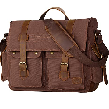 d4ba065e44 Amazon.com  Wowbox 17.3 Inch Men s Messenger Bag Vintage Canvas Leather  Satchel Laptop Bags Bookbag Working Bag for Men and Women Coffee  Computers    ...