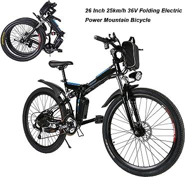 Bicicleta eléctrica plegable Mountain Bike 250 W 32 km/h Shimano 21 de aluminio batería 36 V luz delantera con 3 niveles de Assistenza – Ruedas grandes 26 pulgadas, enchufe UE 【 EU
