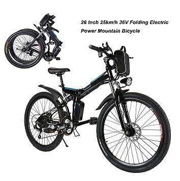 Bicicleta eléctrica plegable Mountain Bike 250 W 32 km/h Shimano 21 de aluminio batería