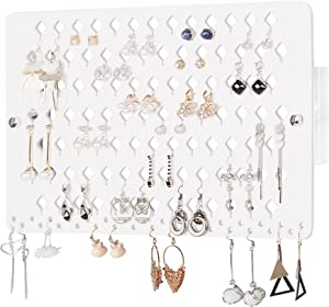 JACKCUBE DESIGN Wall Mount Earring Jewelry Holder Organizer hanger Storage Rack Display White with 94 Holes(15.7 x 9.4 x 0.9 inches) - MK201A