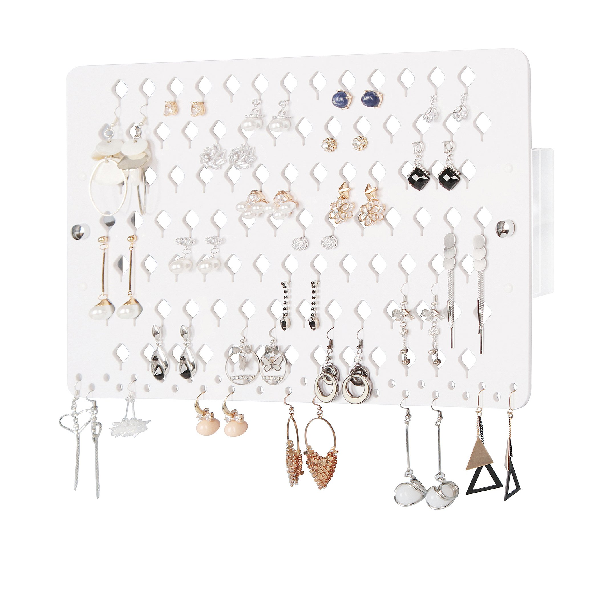 JackCubeDesign Wall Mount Earring Jewelry Holder Organizer Hanger Storage Rack Display Clear Acrylic with 94 Holes(White,15.7 x 9.4 x 0.9 inches) - :MK201A