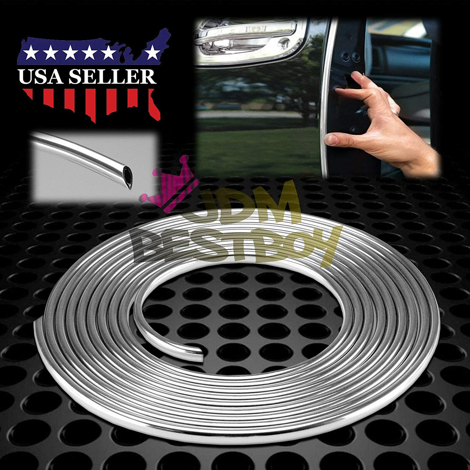 JDMBESTBOY Universal Chrome Door Edge Guard Protection Car Auto Molding Trim 15 Feet D.I.Y FIT Chevrolet Chevy Ford GMC Dodge Lincoln Jeep Chrysler Cadillac Buick Mercury Saturn #CHRDR1