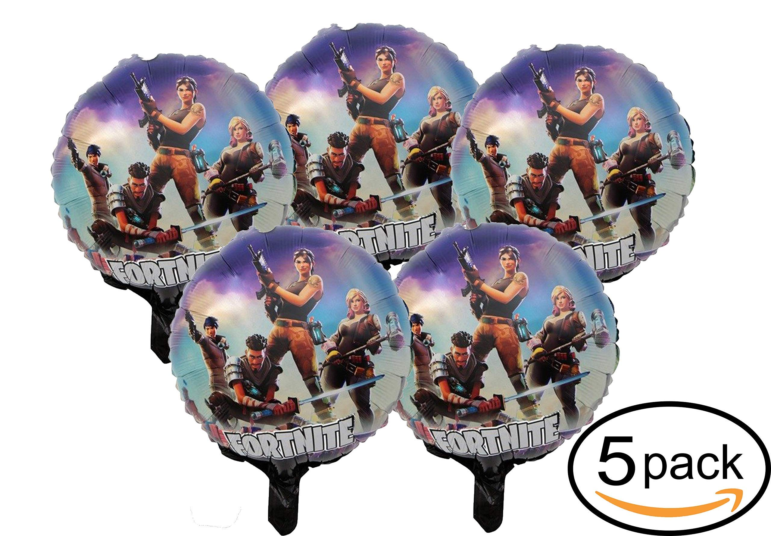 Fortnite Balloons Birthday Party Supplies Bundle 18 Inch Kids' Gaming Decoration 5 Pack Double Sided Balloons