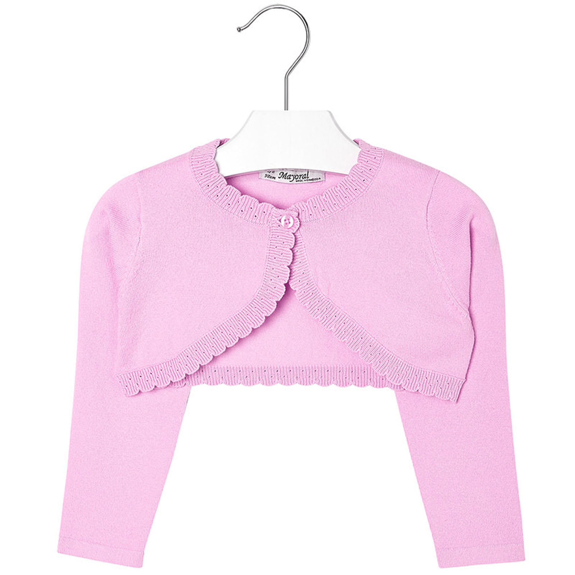 Mayoral Girls 2T-9 Orchid-Pink Scallop Edge Knit Shrug Cardigan Sweater, Orchid,2